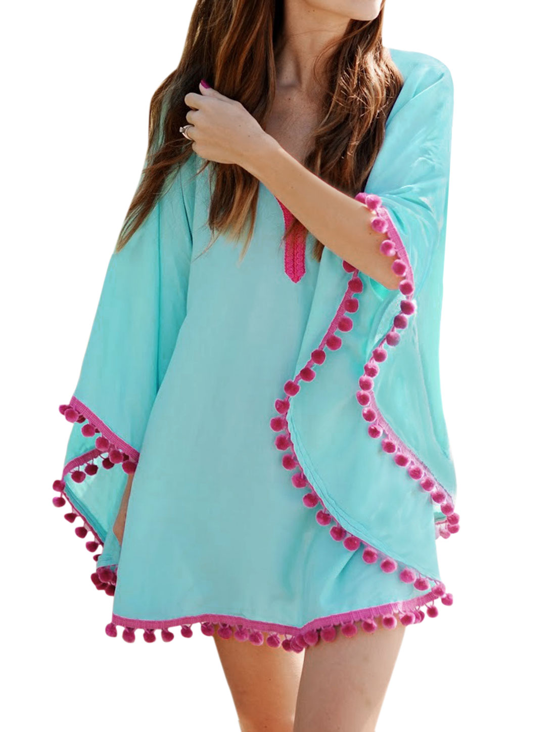 Women Pom-poms Trim Loose Fit Beach Cover-Up Tunic Top Blue XS
