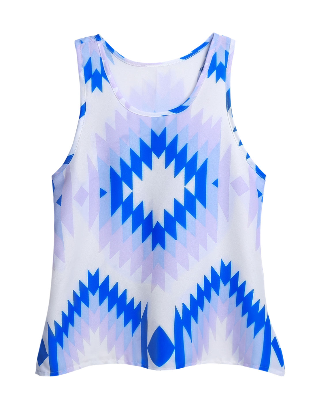Woman Geometrical Prints Scoop Neck Casual Tank Top White Blue M