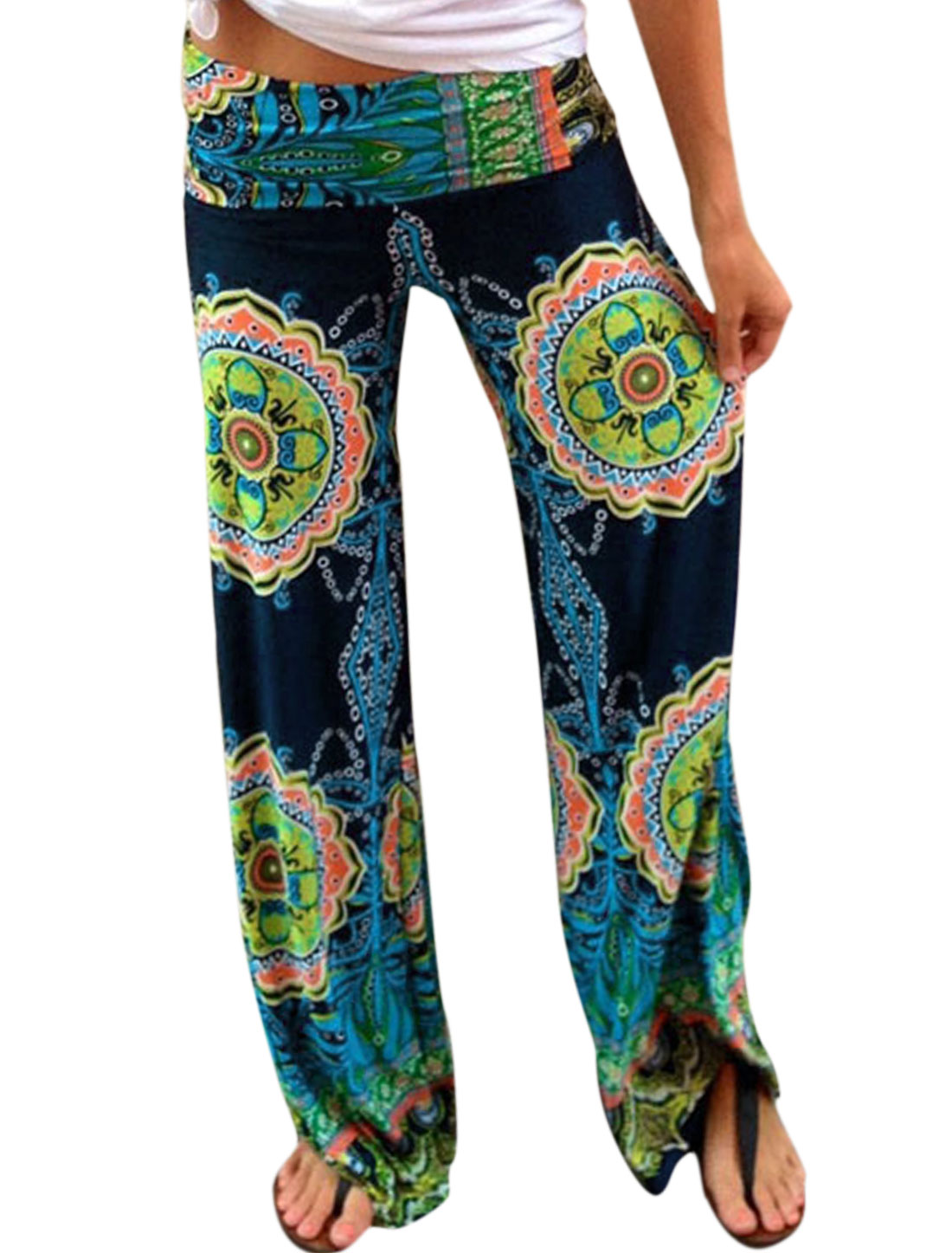 Women Tribal Aztec Printed Wide Leg Fold Over Waist Palazzo Pants Muliticolor M