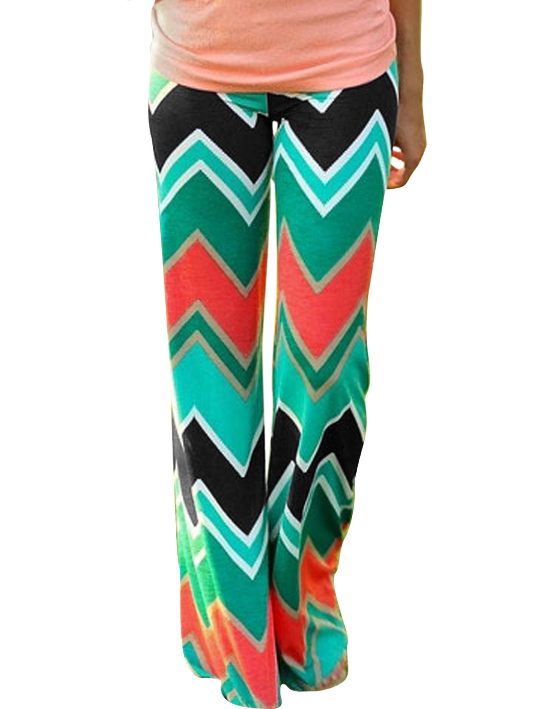 Women Mid Rise Straight-Leg ZigZag Pattern Full-length Casual Pants Multicolor M