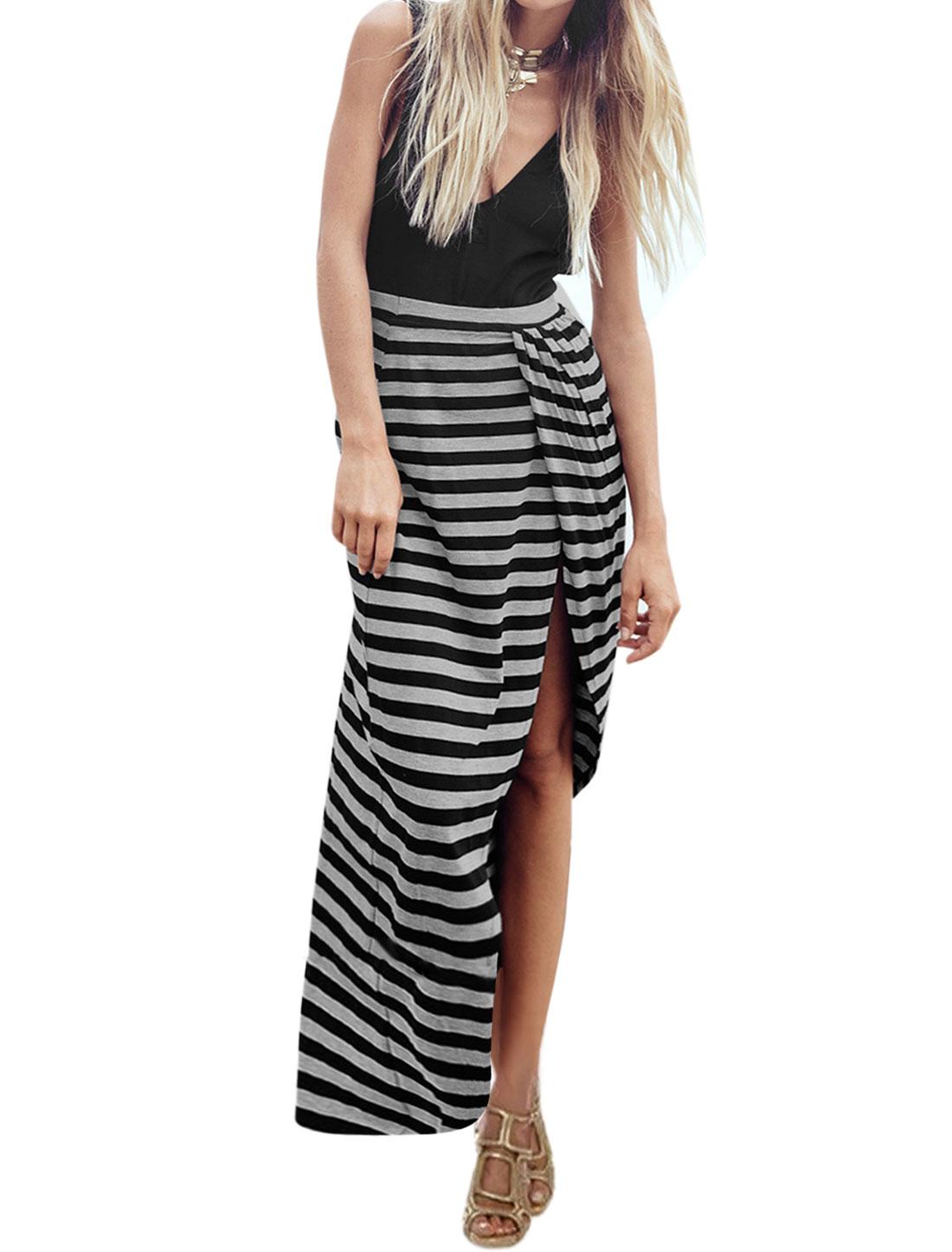 Woman Stripes Deep V Neck Backless Asymmetric Hem Split Side Dress Black Gray S