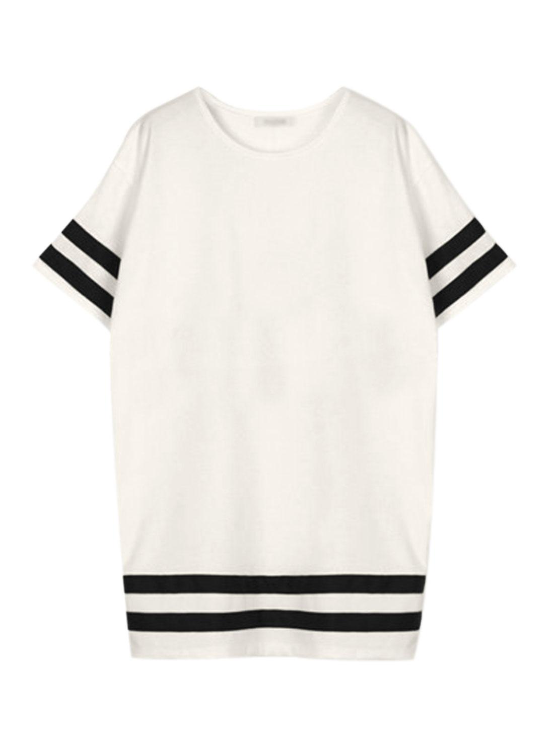 Women Round Neck Striped Panel Casual Oversize Dresses White L