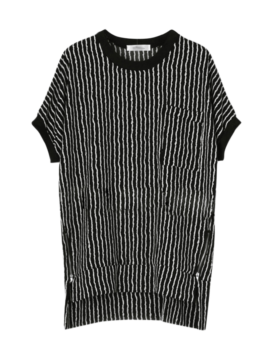 Woman Vertical Stripes Zip Embellished High Low Hem Tunic Top Black M