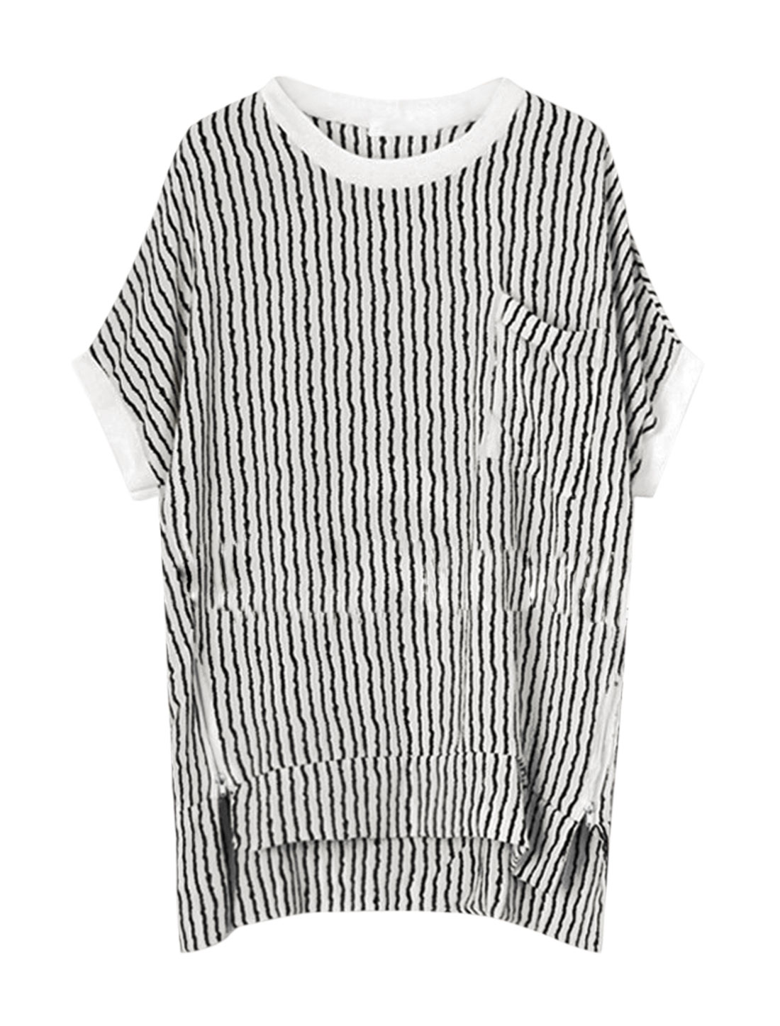 Woman Vertical Stripes Short Sleeves High Low Hem Tunic Top White L
