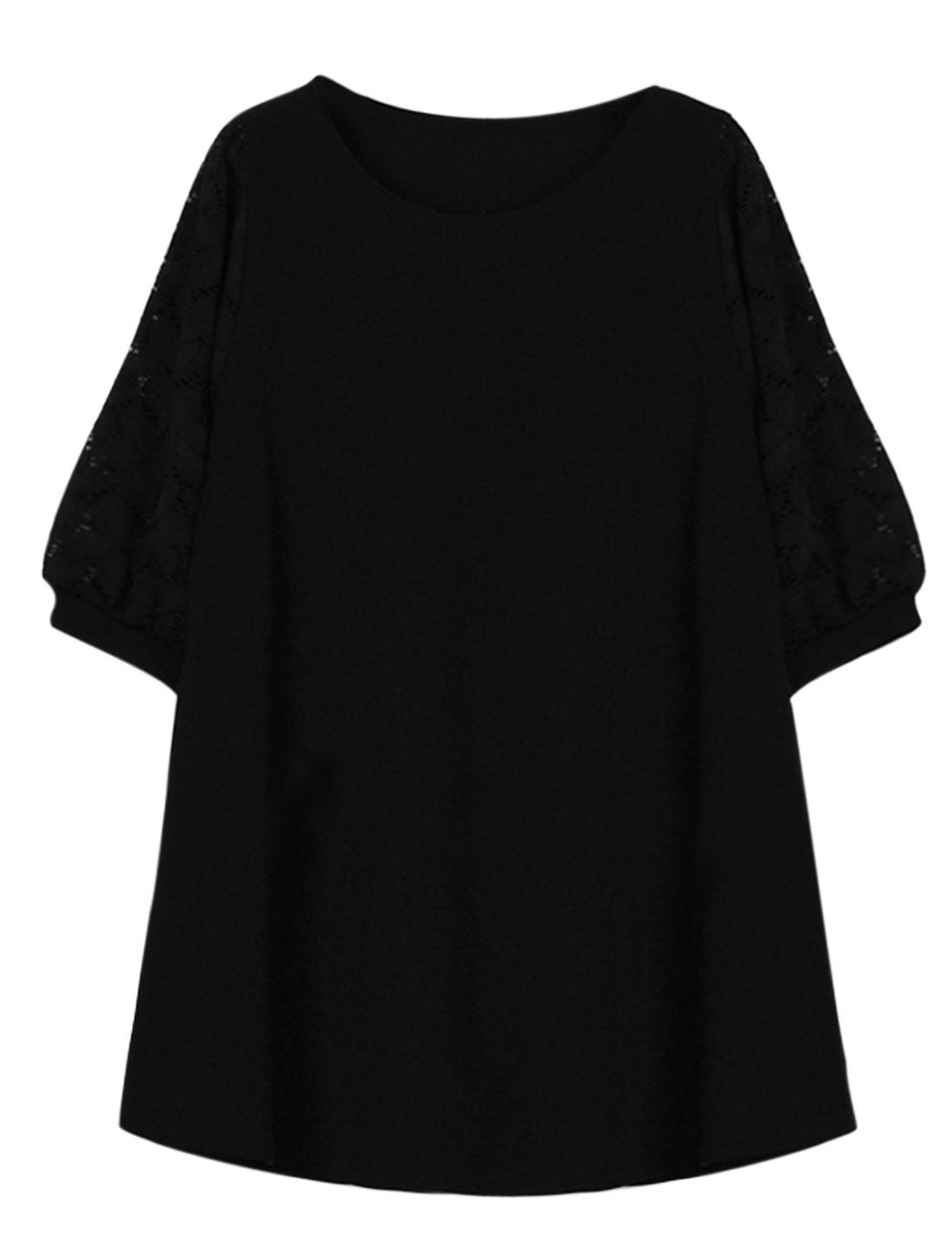 Woman Floral Design Lace Panel Round Neck A Line Dress Black L