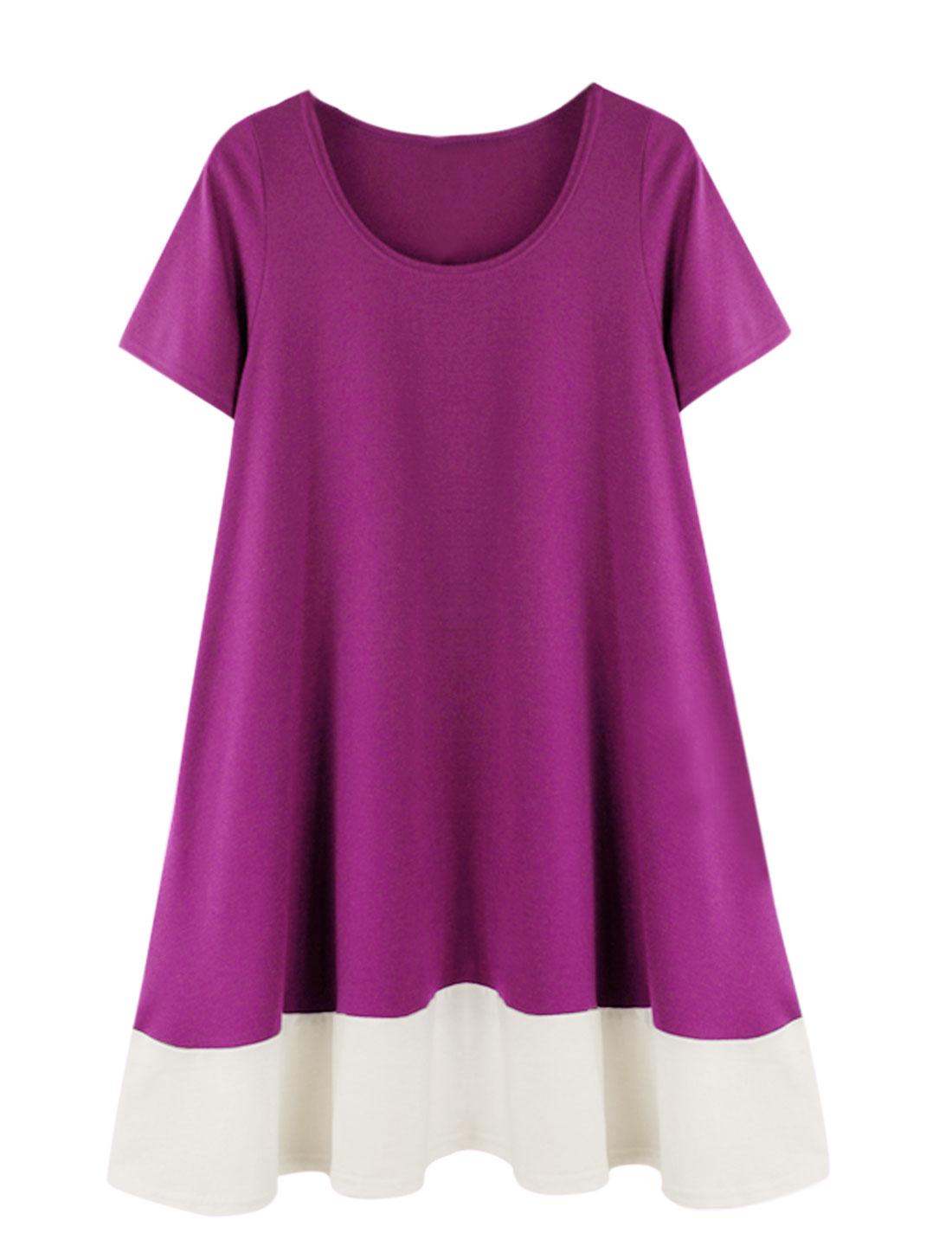 Ladies Short Sleeve Color Block Casual Loose Dress Purple L