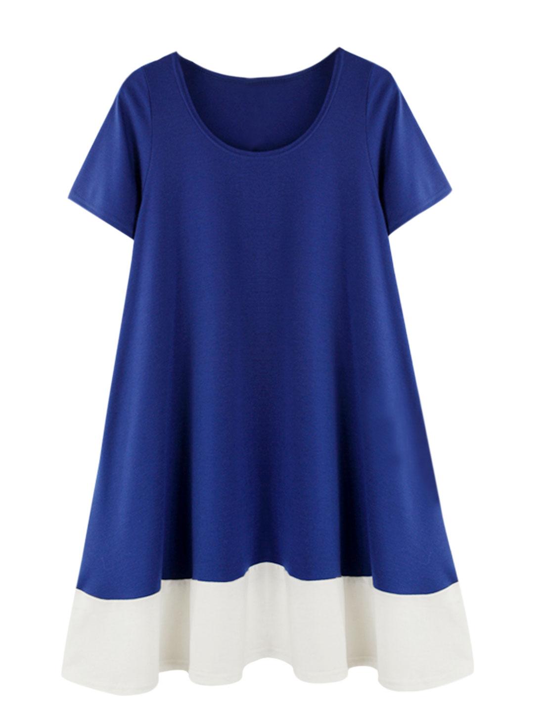 Ladies Short Sleeve Color Block Unlined Loose Dresses Royal Blue L
