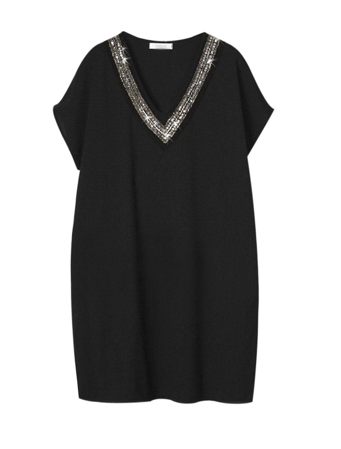 Woman Slipover Sequin Embellished V Neckline Tunic Dress Black L