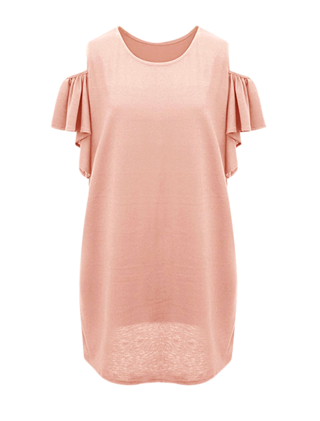 Women Bell Sleeve Round Neck Cut Out Shoulder Dress Pale Pink L