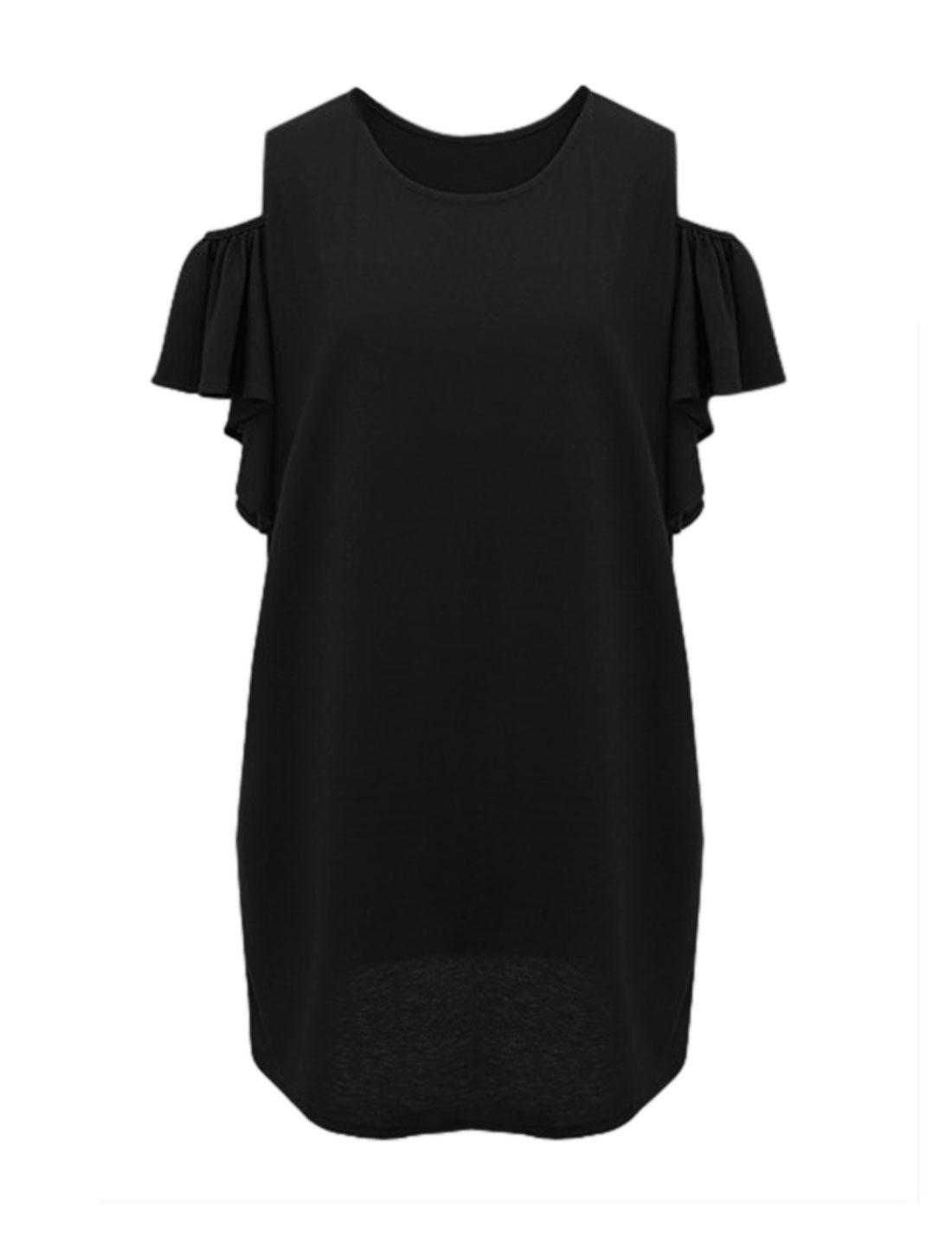 Women Round Neck Cut Out Shoulder Dress Black L