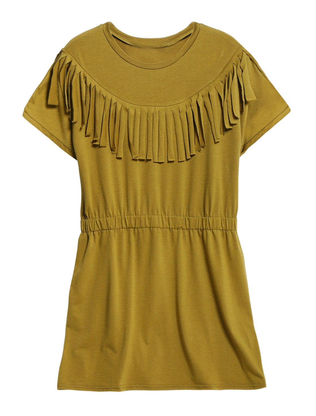 Woman Fringed Upper Round Neck A Line Dress Army Green L