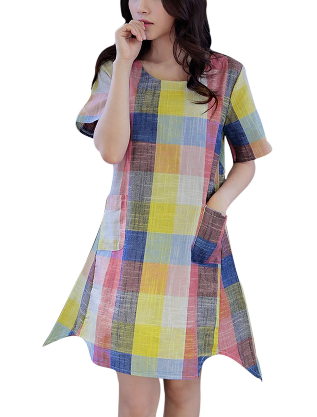Ladies Short Sleeve Round Neck Checks Asymmetric Hem Casual Dress Pink M