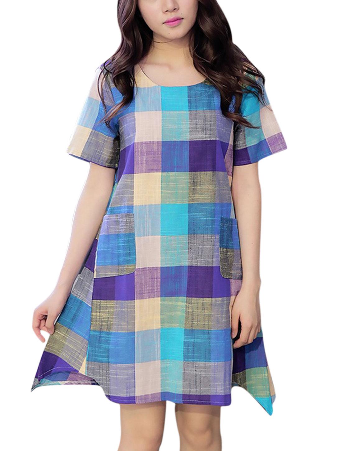 Ladies Short Sleeve Front Pockets Checks Asymmetric Hem Dresses Aqua M