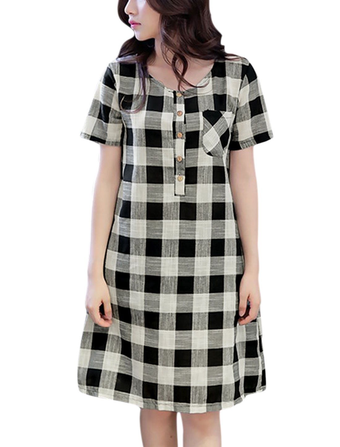 Women Checks Four-Button Placket Unlined Tunic Dress Black White M
