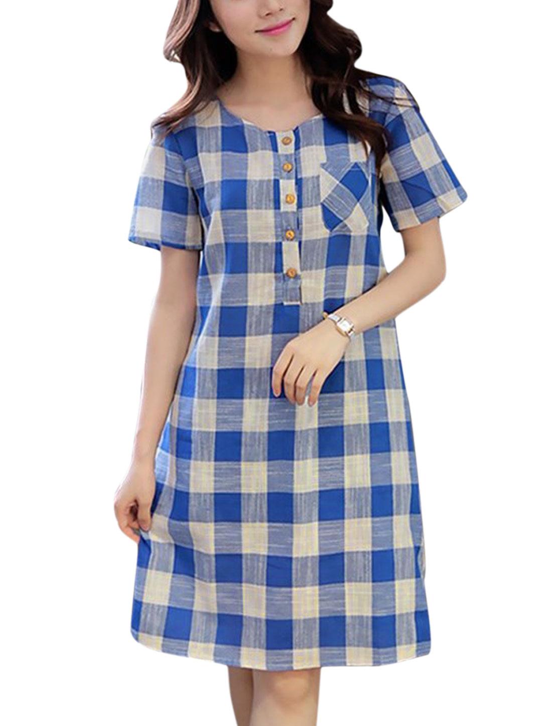 Women Checks Four-Button Placket Short Sleeves Tunic Dress Blue Whit