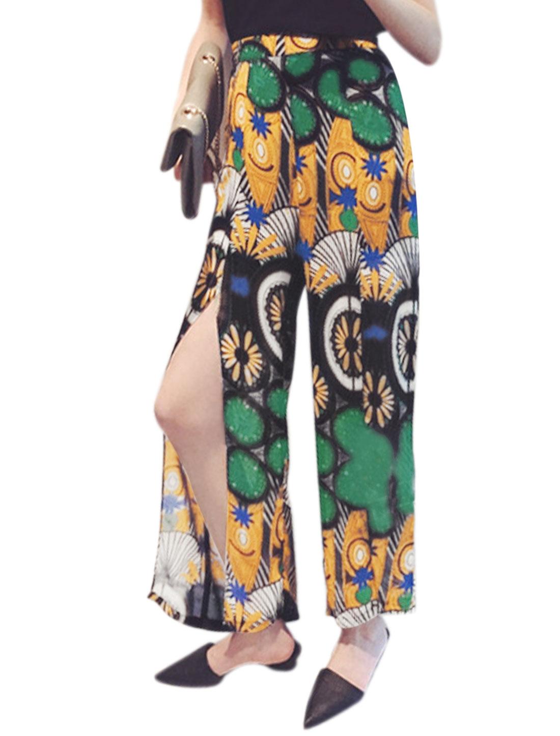 Woman Peacock Pattern Split Cuffs Chiffon Wide Leg Gaucho Pants Multicolor XS