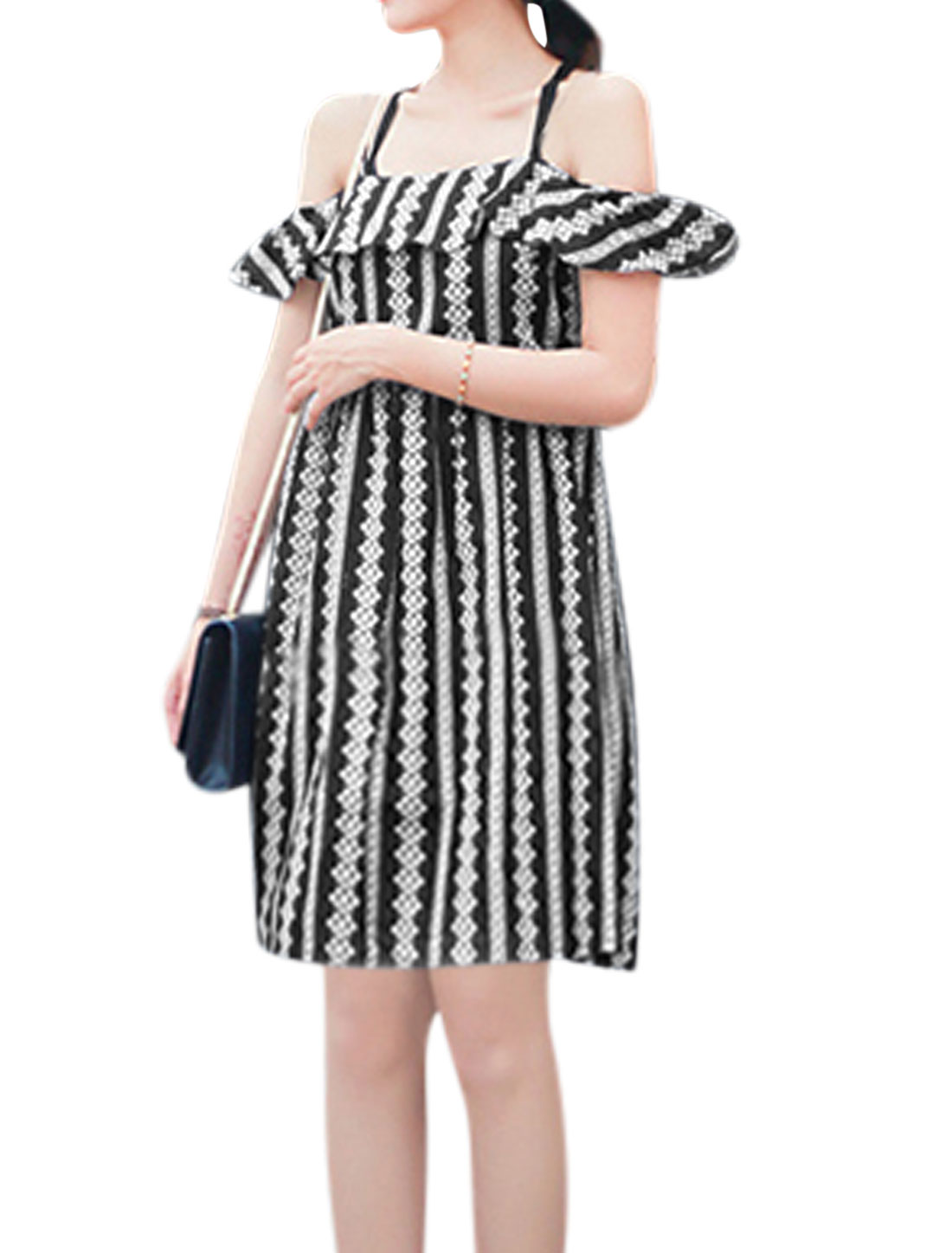 Ladies Novelty Prints Spaghetti Strap Unlined Casual Dress Black XS