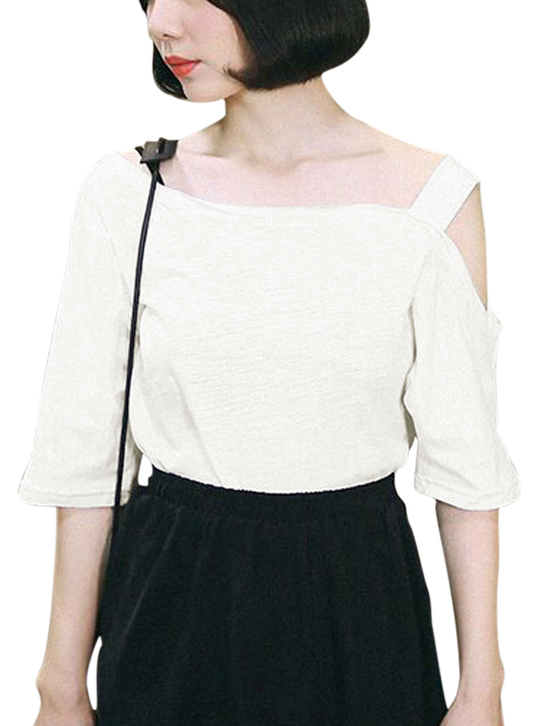 Women One Cut Out Shoulder Elbow Sleeves Asymmetric Neck Casual Tee White M