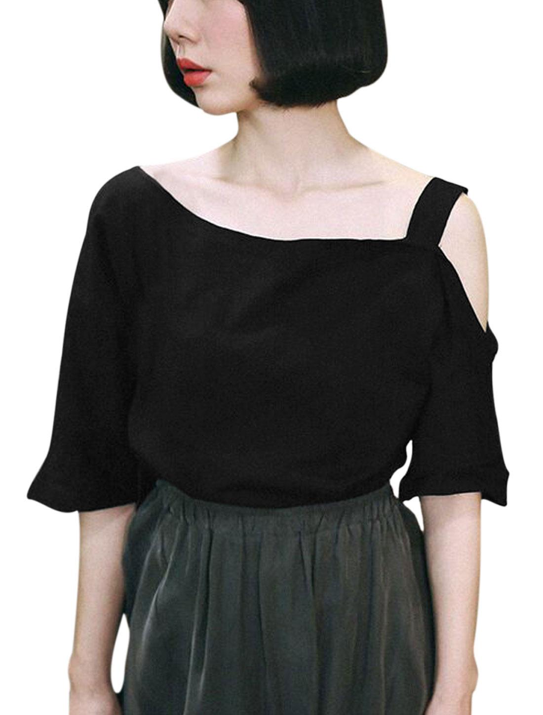Women One Cut Out Shoulder Asymmetric Neck Casual Tee Black M