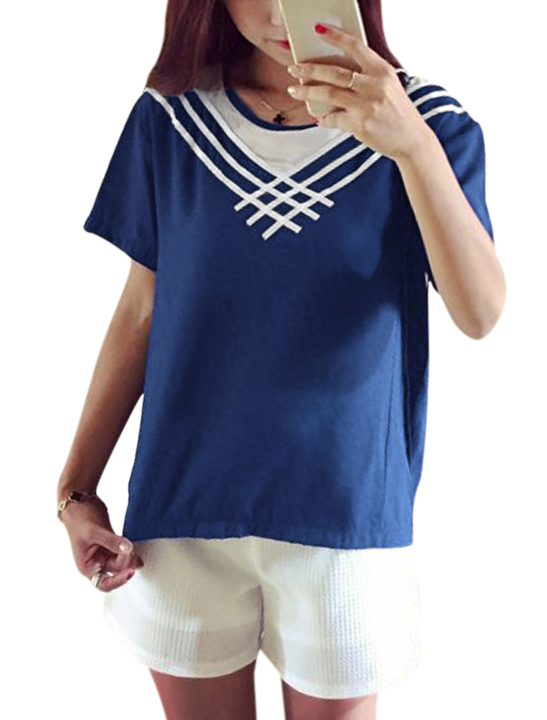 Women Multi Stripes Stitching Short Sleeves lvoer Casual Tee Navy Blue XS
