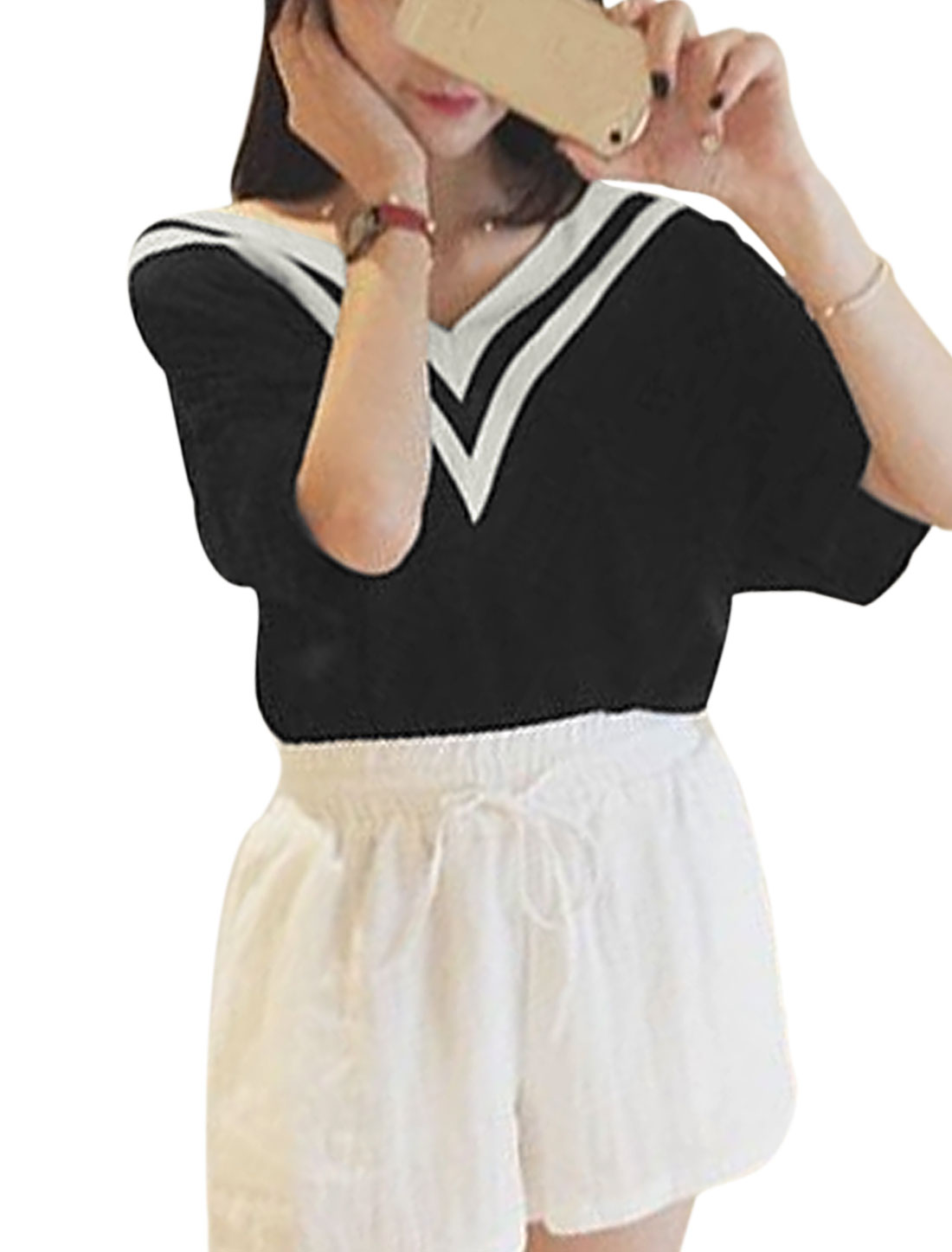 Woman Ribbed V Neck Stripes Detail Half Length Sleeves Casual T-shirt Black S