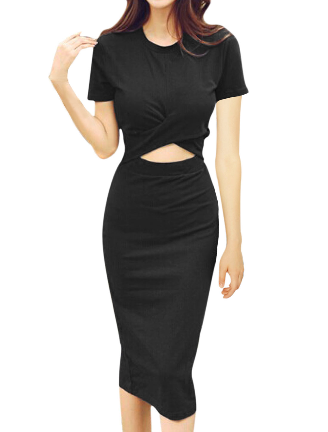 Ladies Short Sleeve Round Neck Cut Out Split Back Casual Sheath Dress Black M