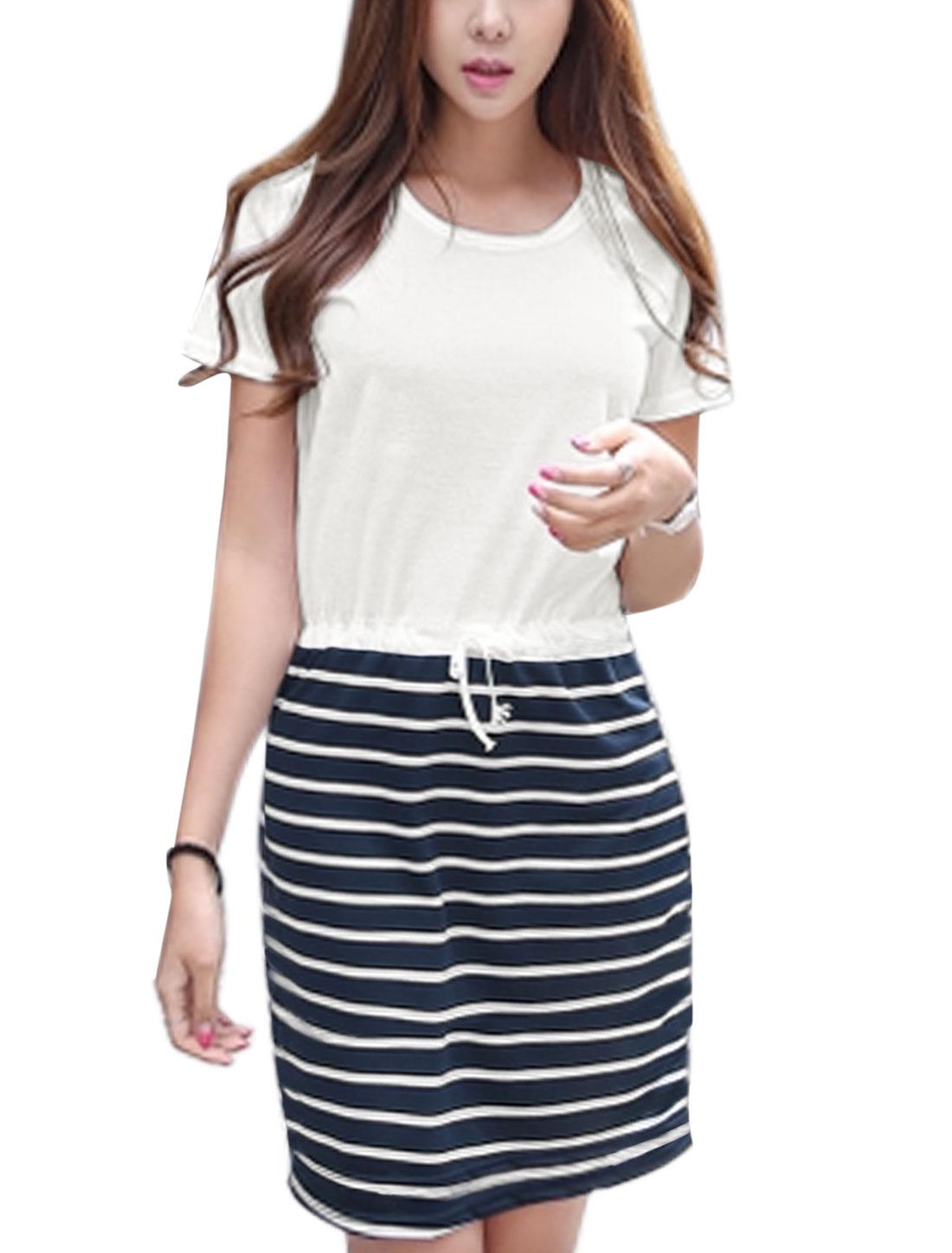Ladies Short Sleeve Drawstring Waist Stripes T-Shirt Dress White Navy Blue S
