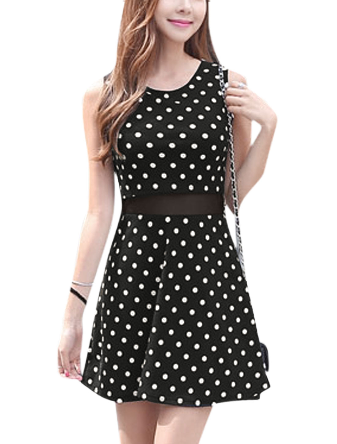 Woman Polka Dots Prints Round Neck Sleeveless Textured A Line Dress Black M