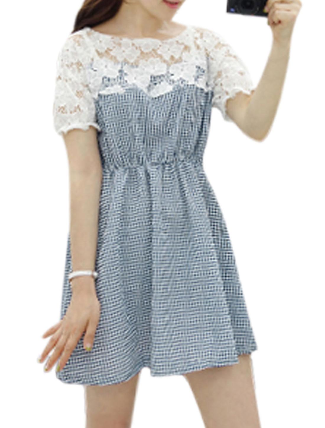 Ladies Short Sleeve Round Neck Plaids Crochet Hollow Out Dress Navy Blue S