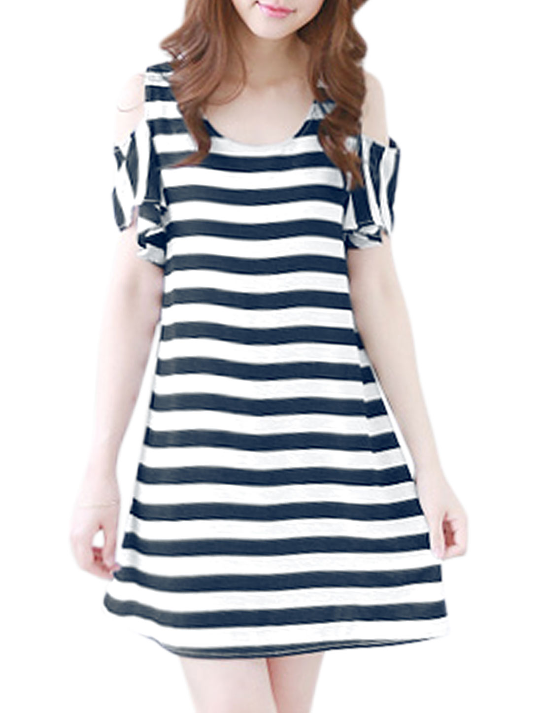 Women Stripes Cut Out Shoulder Flounce Sleeves A Line Dress Navy Blue White S