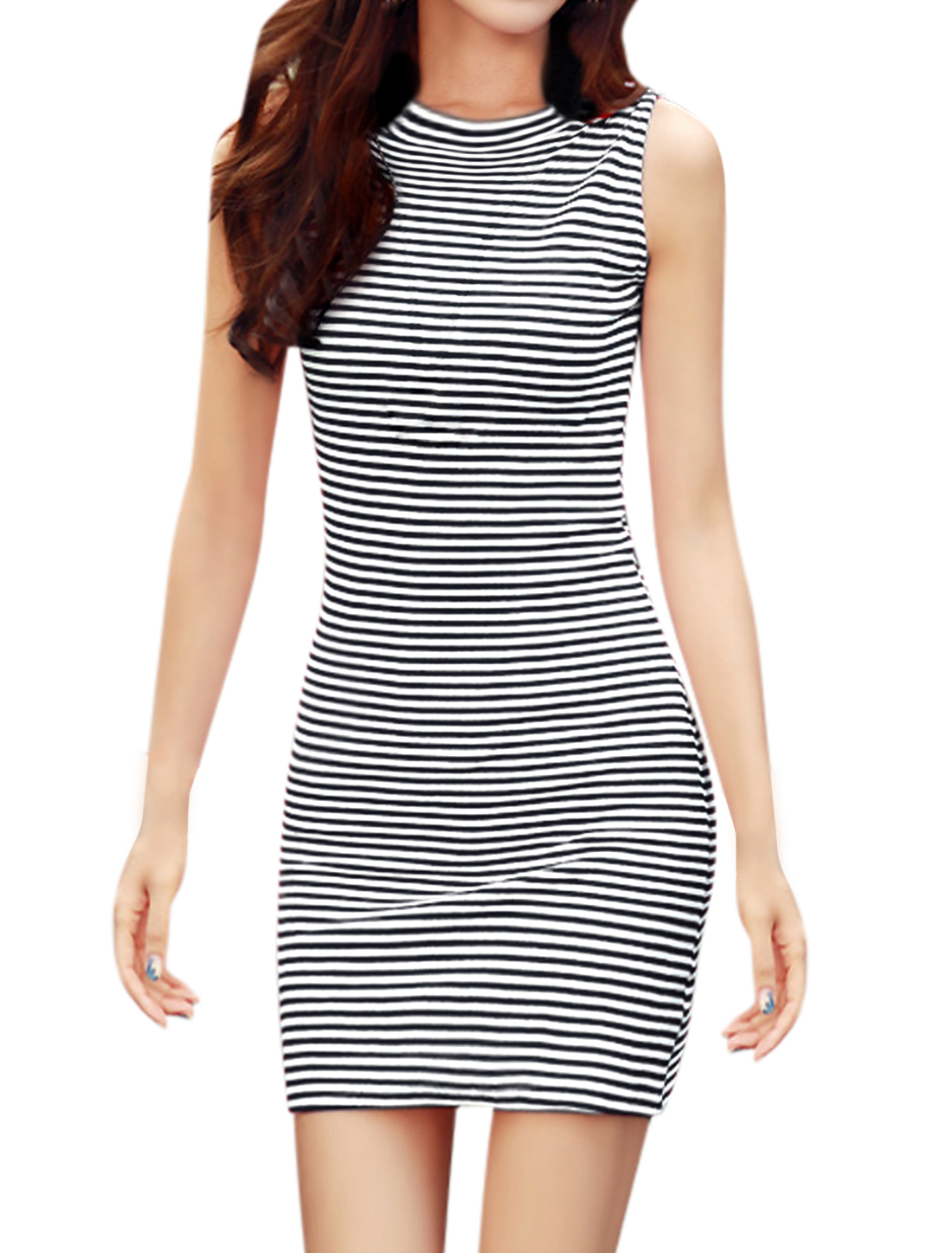 Women Horizontal Stripes Sleeveless Unlined Bodycon Dress Navy Blue White M