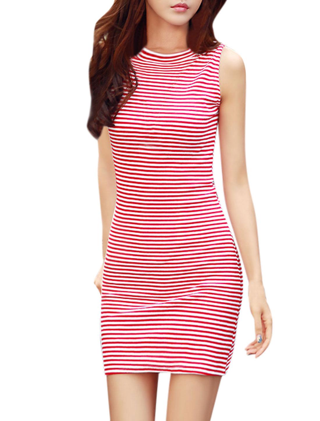 Women Horizontal Stripes Sleeveless Crew Neck Bodycon Dress Red White M