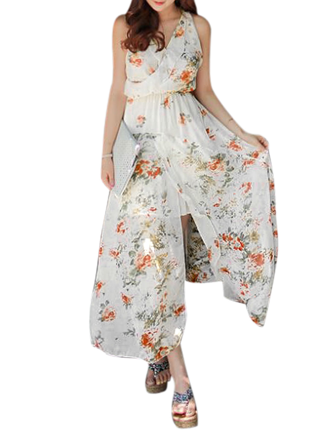 Woman Floral Prints V Neck Ruffled Detail Split Hem Chiffon Maxi Dress White XS