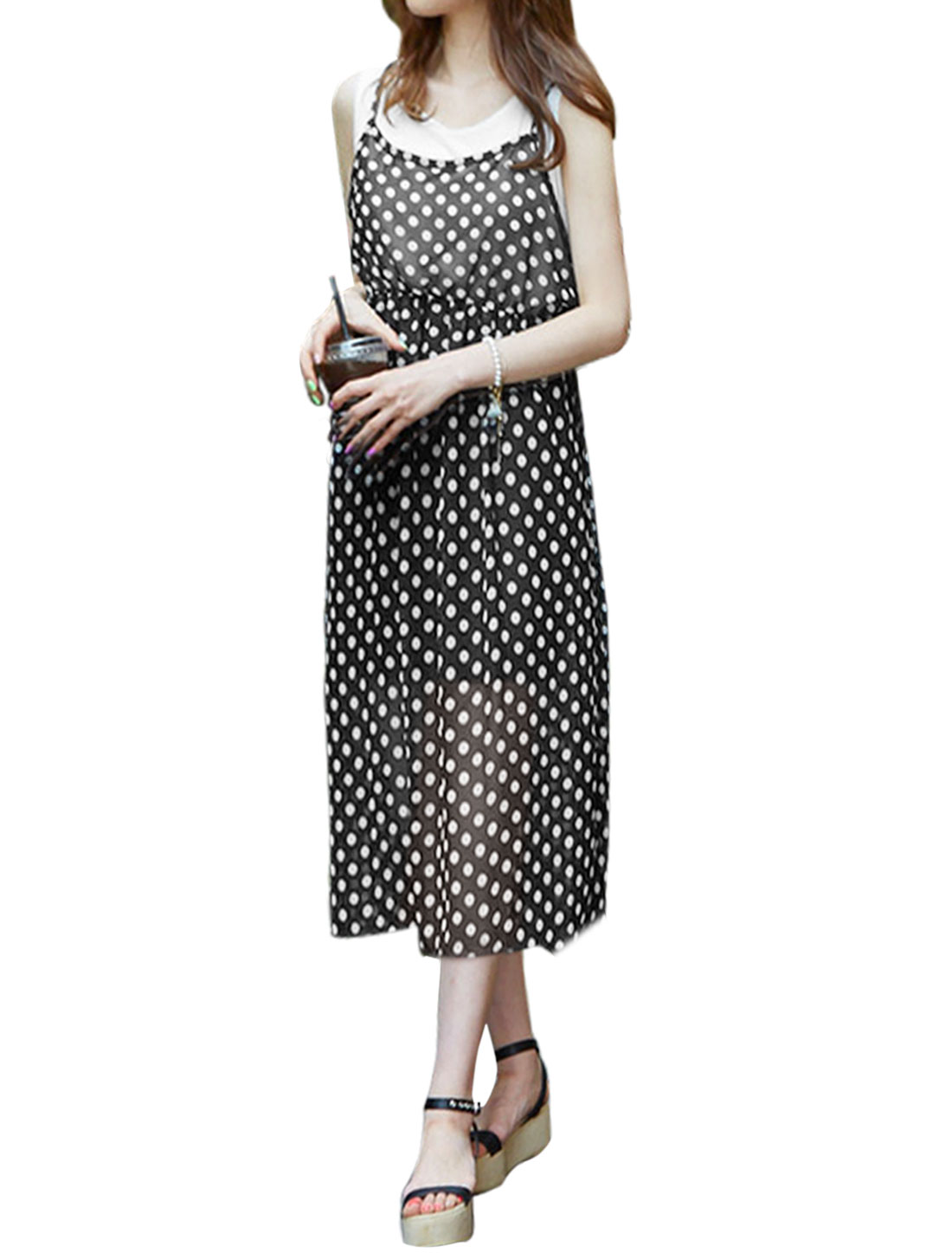Ladies Sleeveless Top w Dots Elastic Waist Unlined Dress Black S