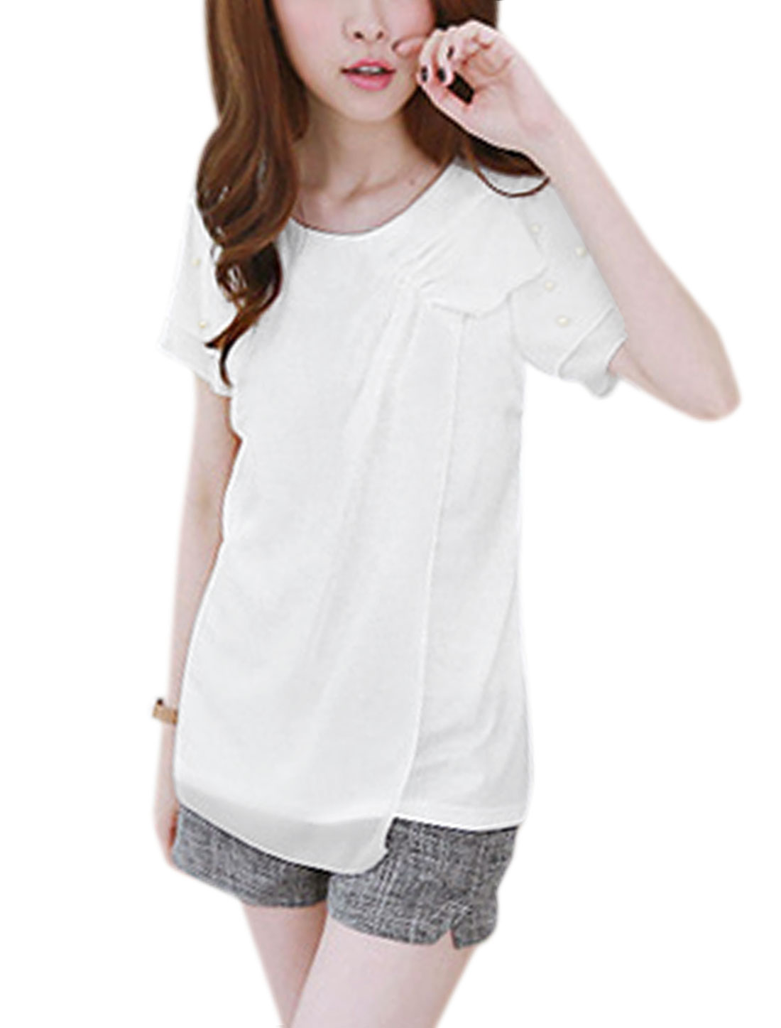 Ladies Round Neck Short Sleeve Layered Beads Casual Blouse White XS