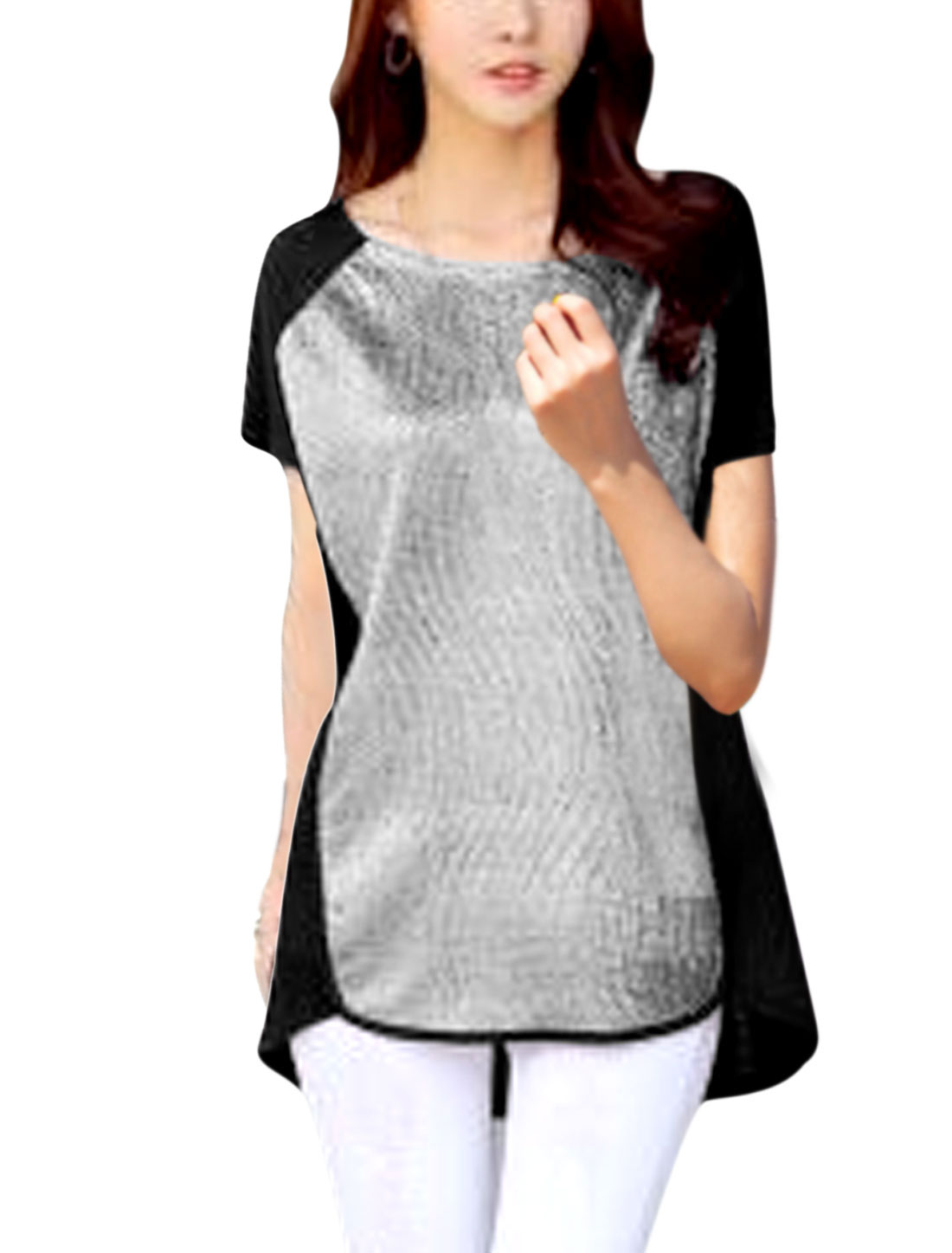 Ladies Short Sleeve Round Neck Color Block Tunic Top Black Silver Tone S