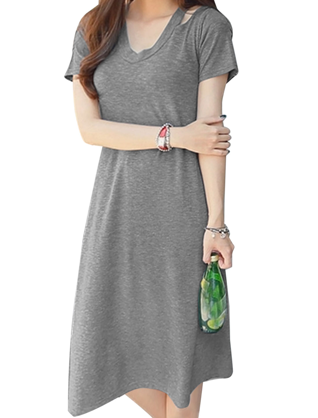 Ladies Short Sleeve Round Neck Cut Out Unlined Casual Dress Dark Gray M