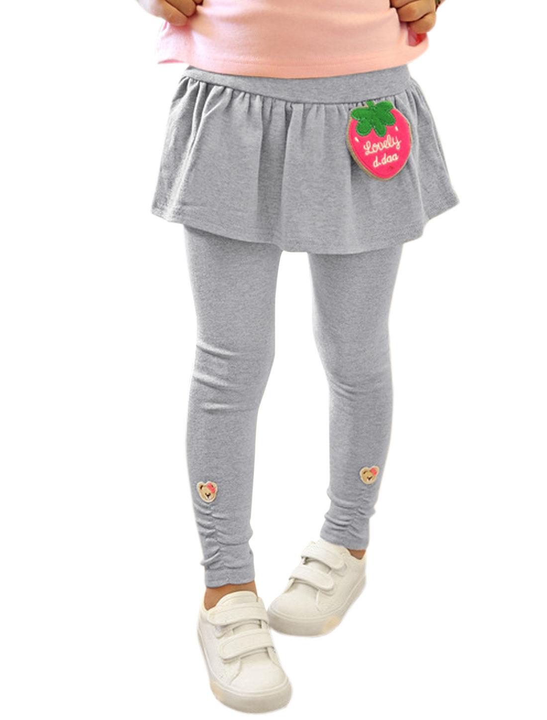 Girls Strawberry Applique Detail Skirt Leggings Light Gray 4