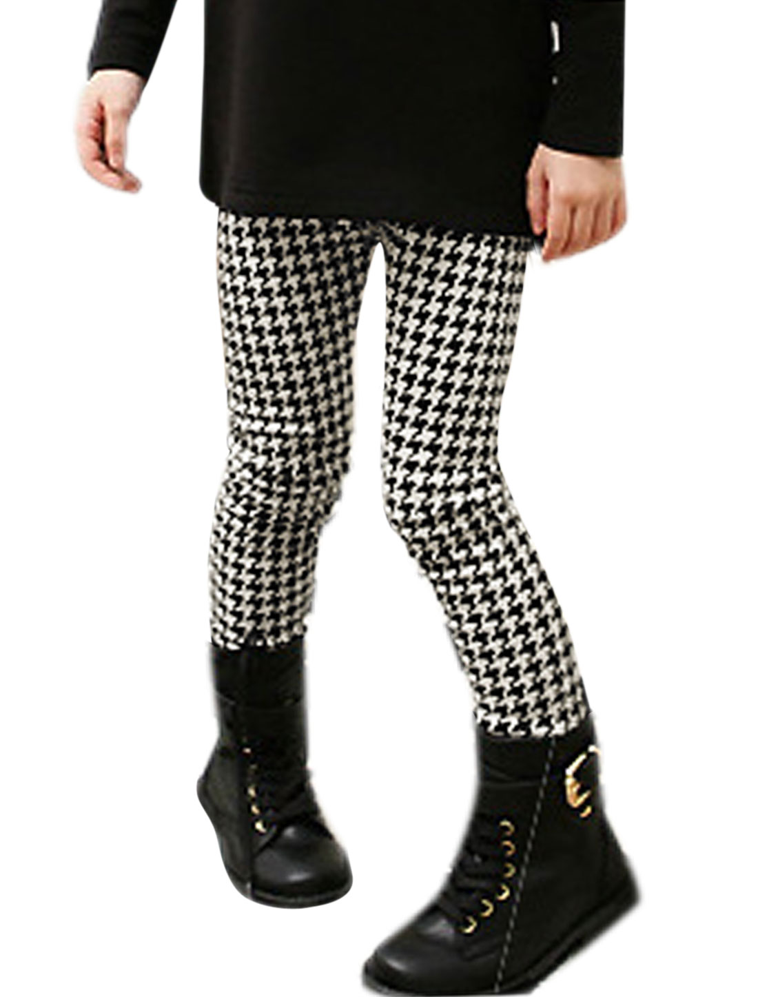Girls Mid Waisted Houndstooth Slim Fit Pants 4T