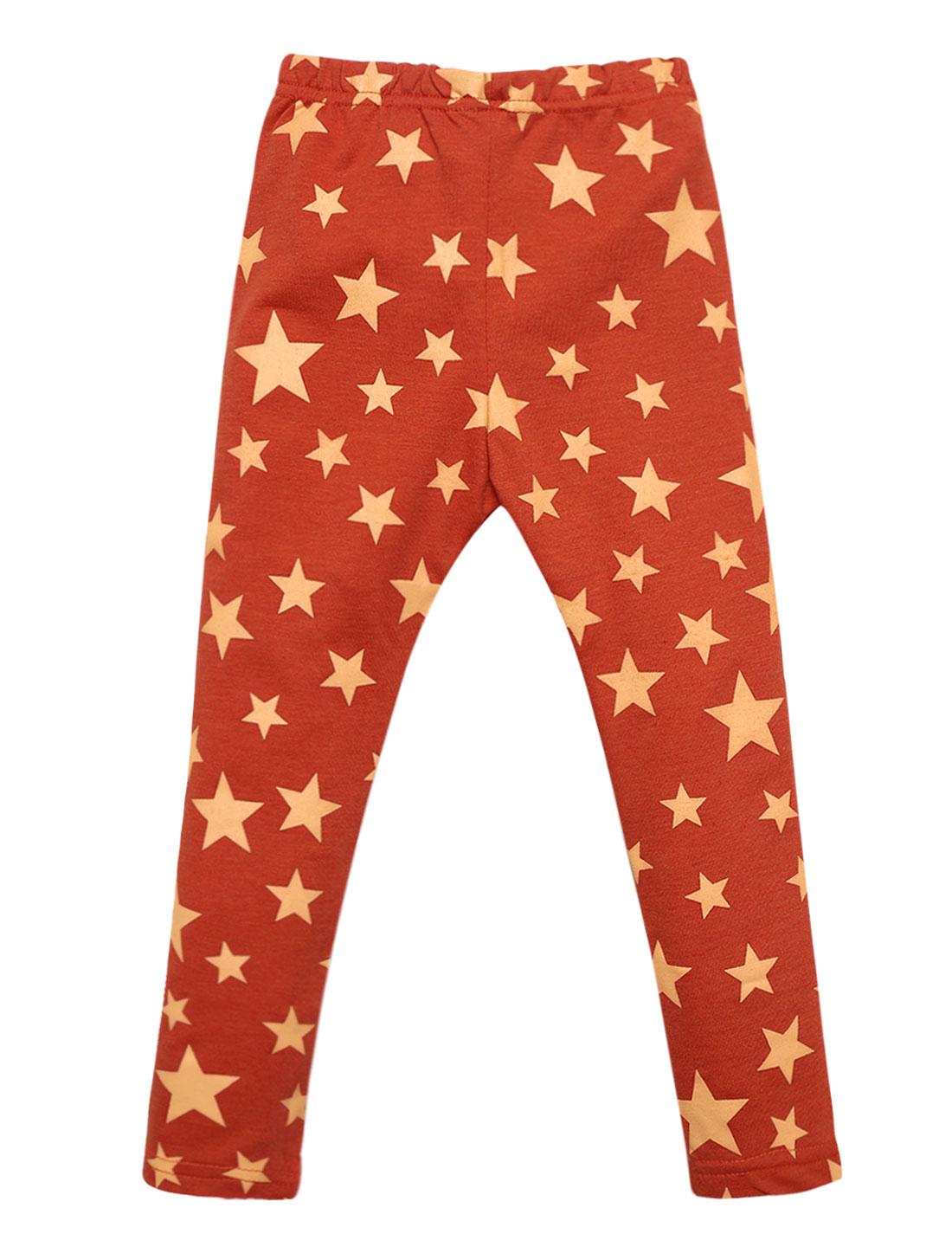 Girls Stars Pattern Elastic Waist Stretchy Casual Leggings Orange Red 4T