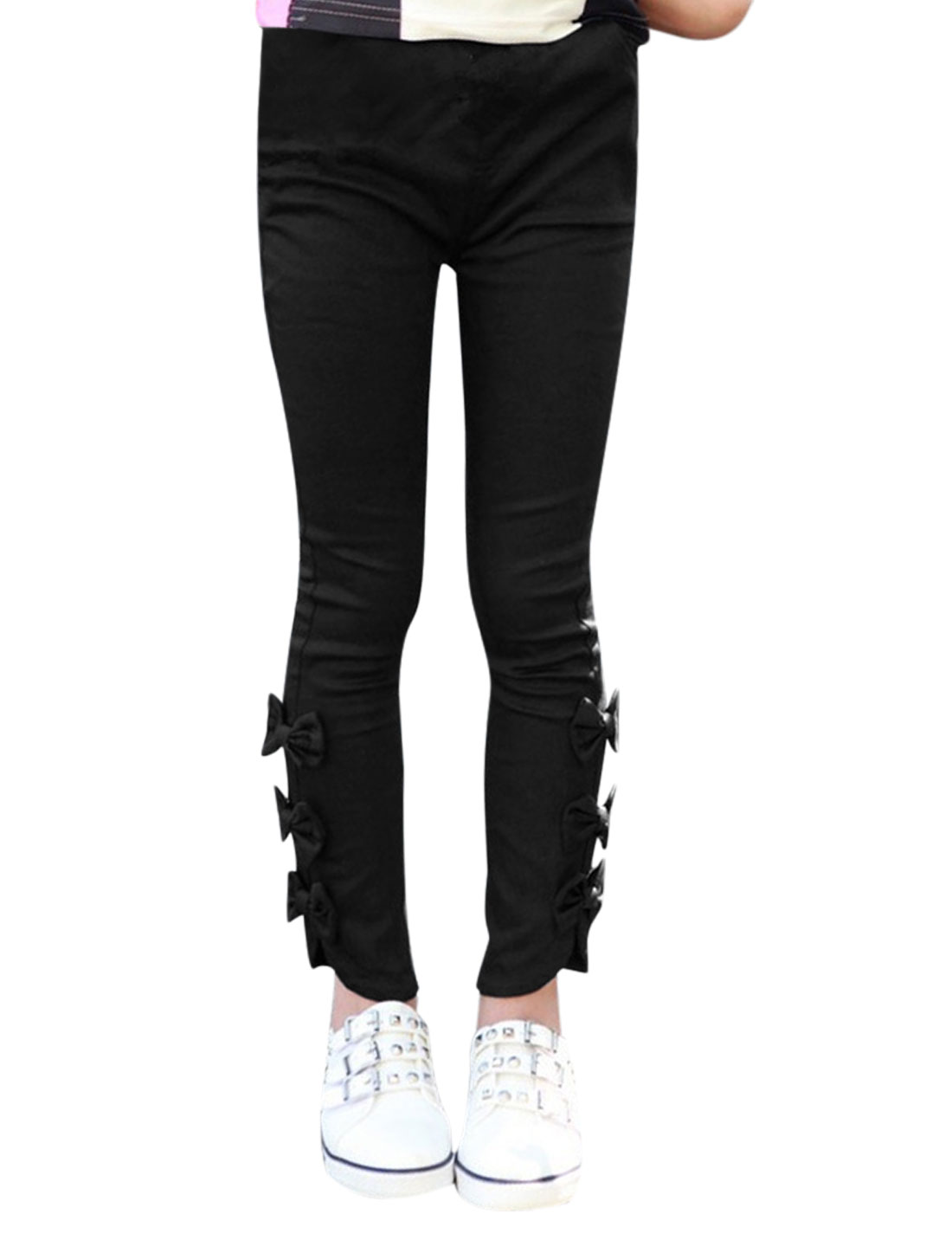 Girls Elastic Waist Front Pockets Slim Fit Bowknot Casual Pants Black 4T