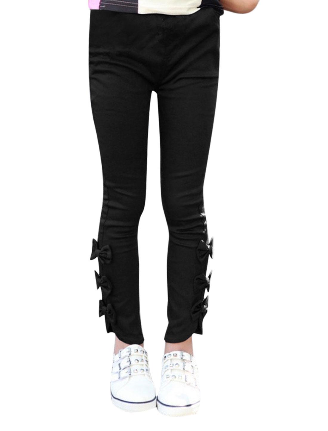Girls Elastic Waist Slim Fit Bowknot Casual Pants Allegra Kids Black 4