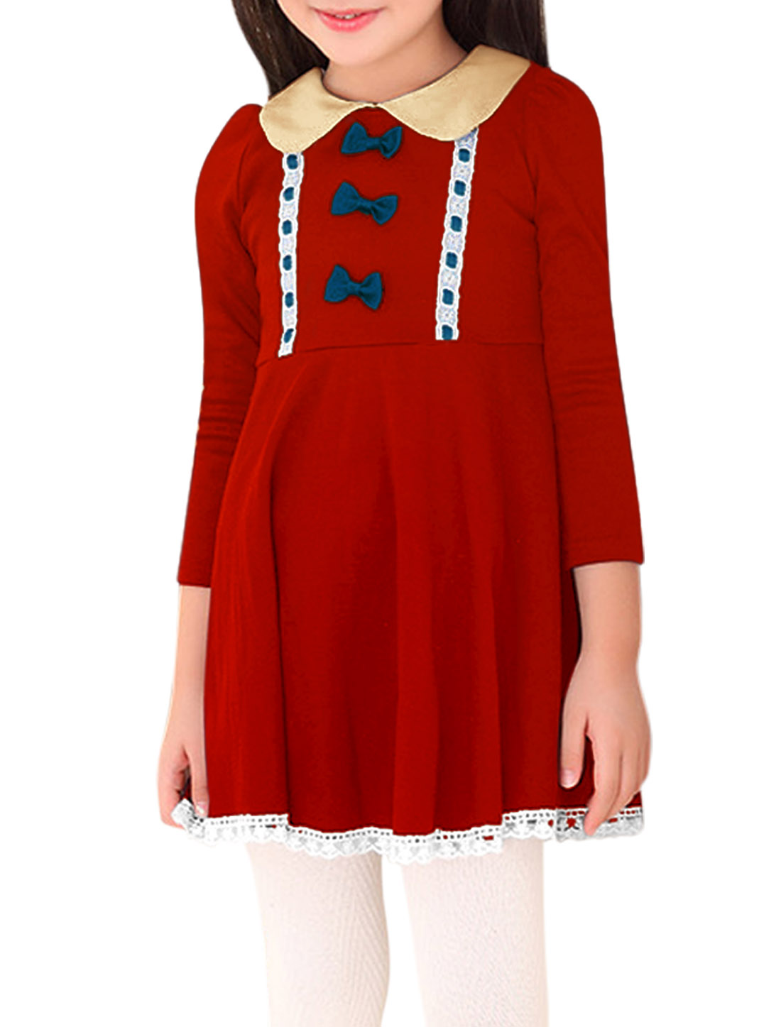 Girls Doll Collar Lace Panel Trim Casual Dress Red 10