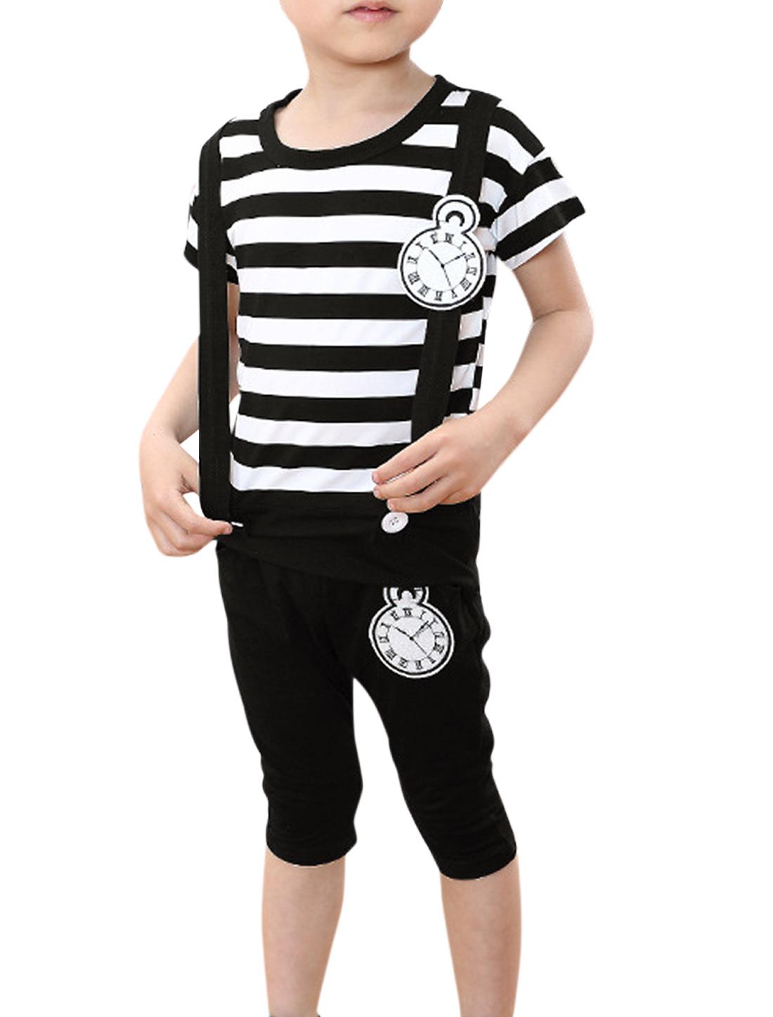 Unisex Striped Top w Leisure Capris Pants Black White Girls Boys 5