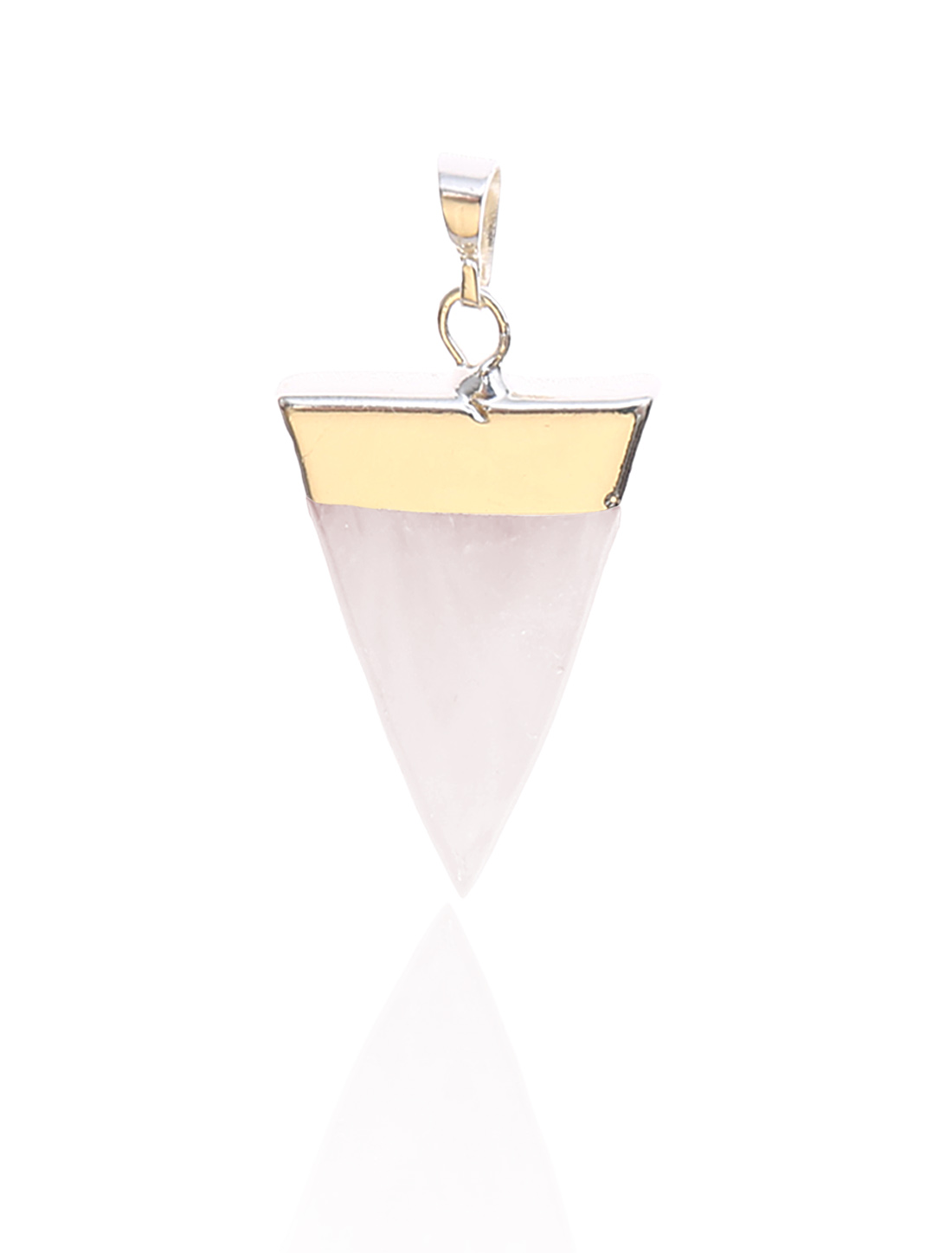 Rose Quartz Pyramid Healing Point Reiki Chakra Gemstone Gold Plated Pendant For Necklace