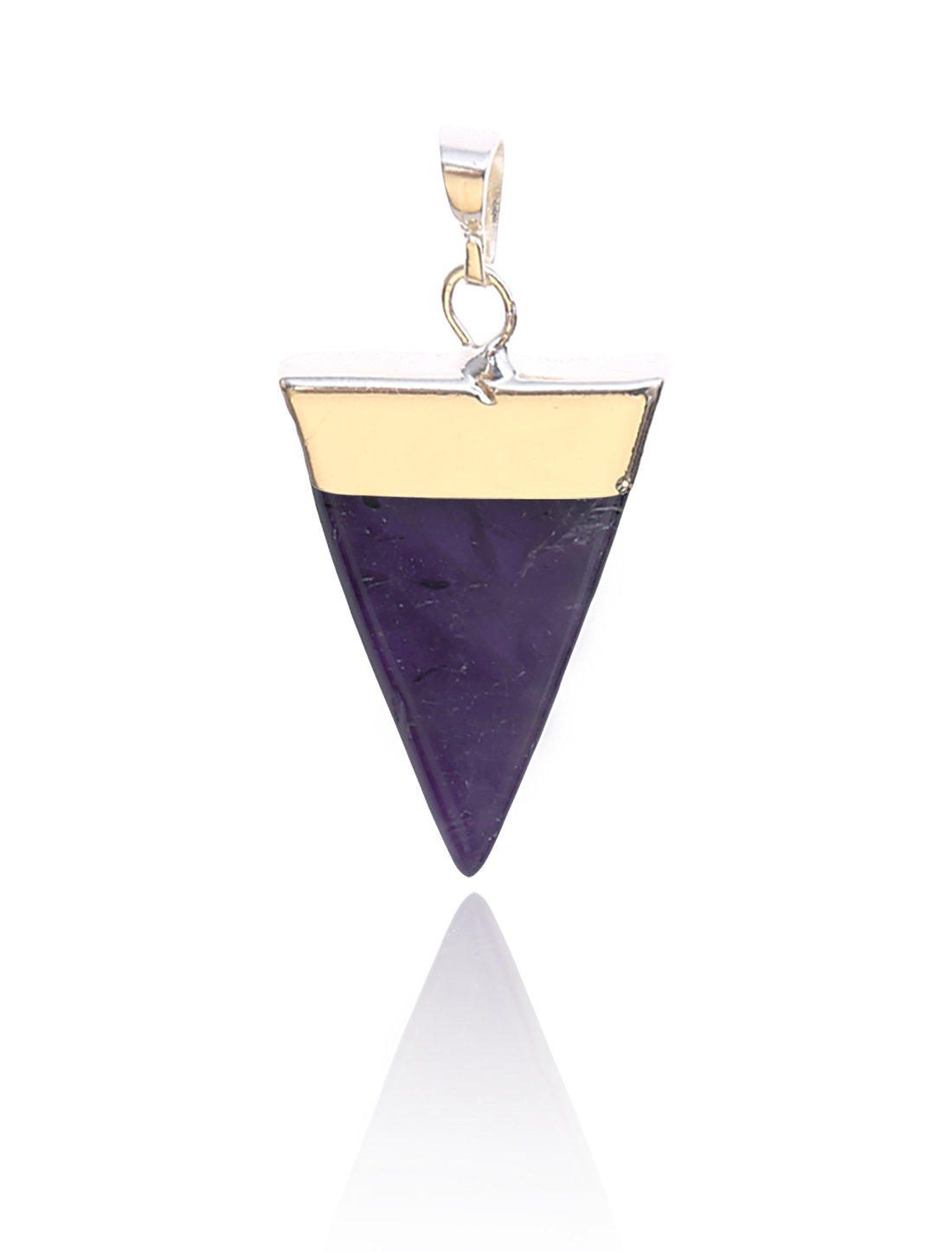 Amethyst Pyramid Healing Point Reiki Chakra Gemstone Gold Plated Pendant For Necklace