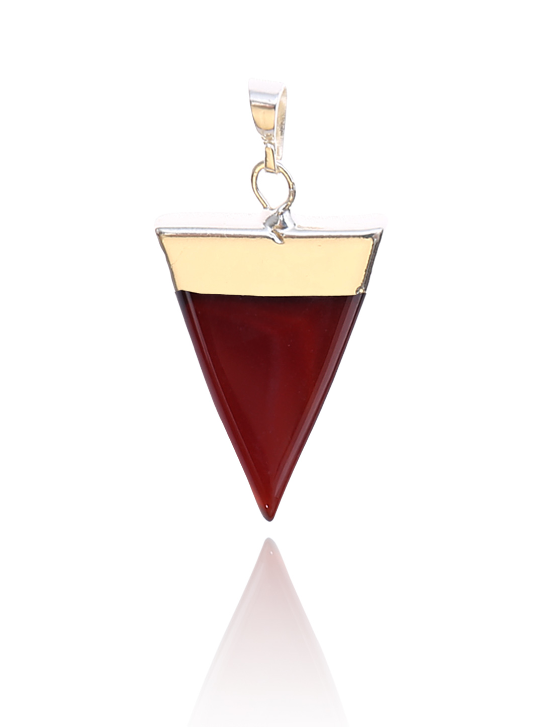 Red Agate Pyramid Healing Point Reiki Chakra Gemstone Gold Plated Pendant For Necklace