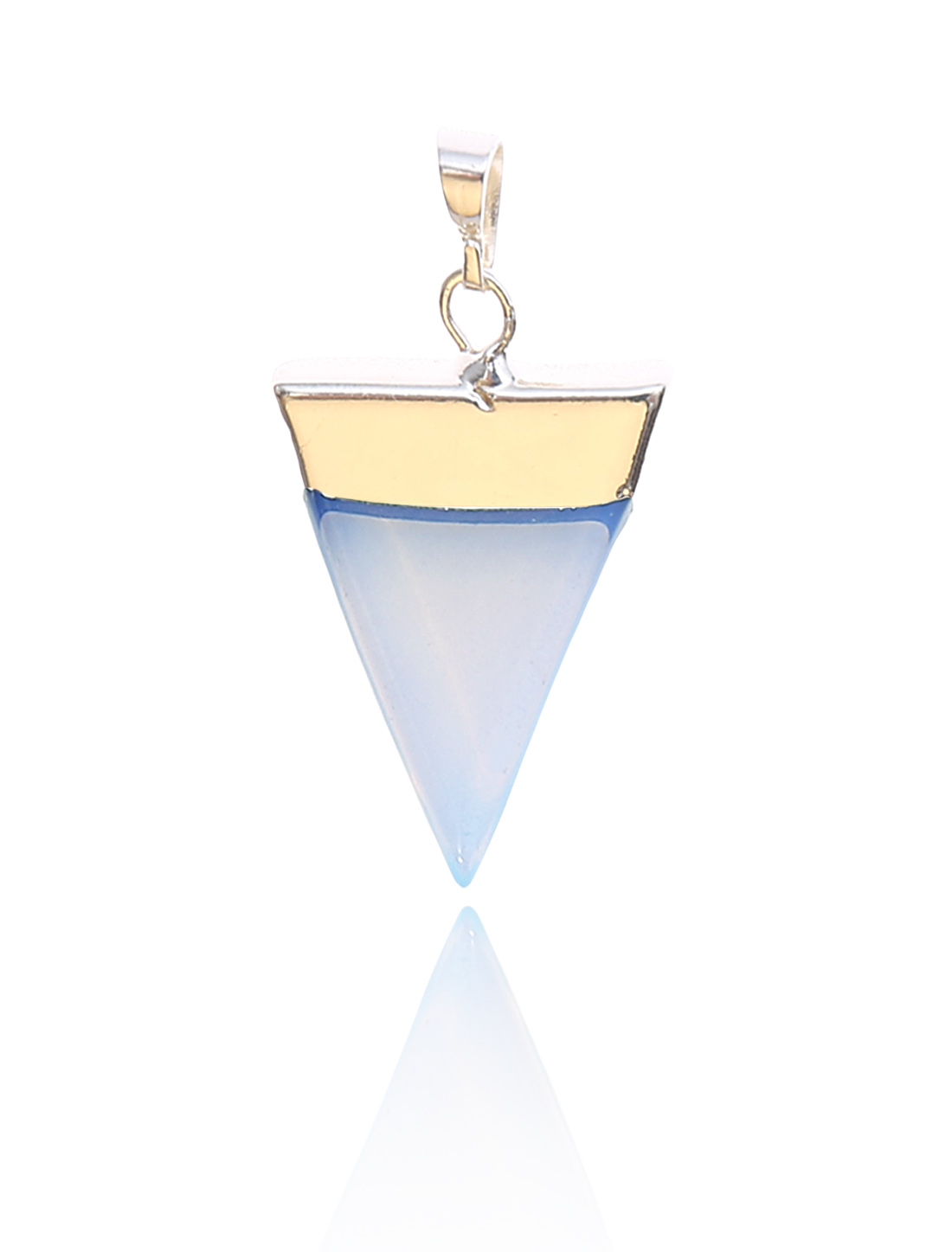Opalite Pyramid Healing Point Reiki Chakra Gemstone Gold Plated Pendant For Necklace
