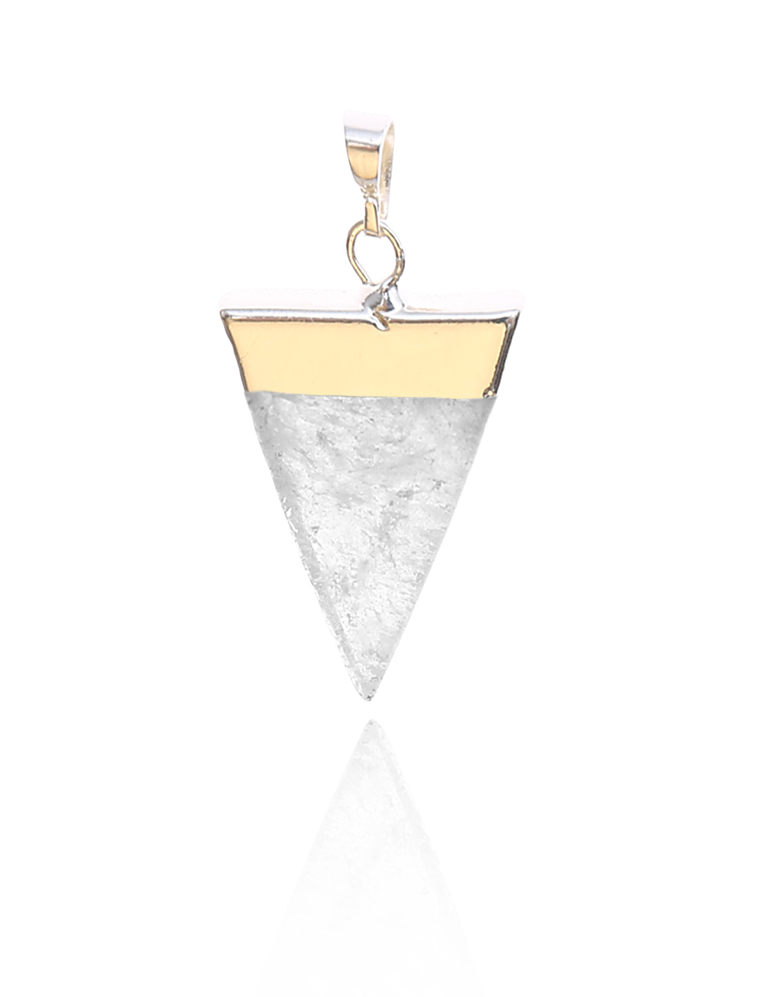 Rock Crystal Pyramid Healing Point Reiki Chakra Gemstone Gold Plated Pendant For Necklace