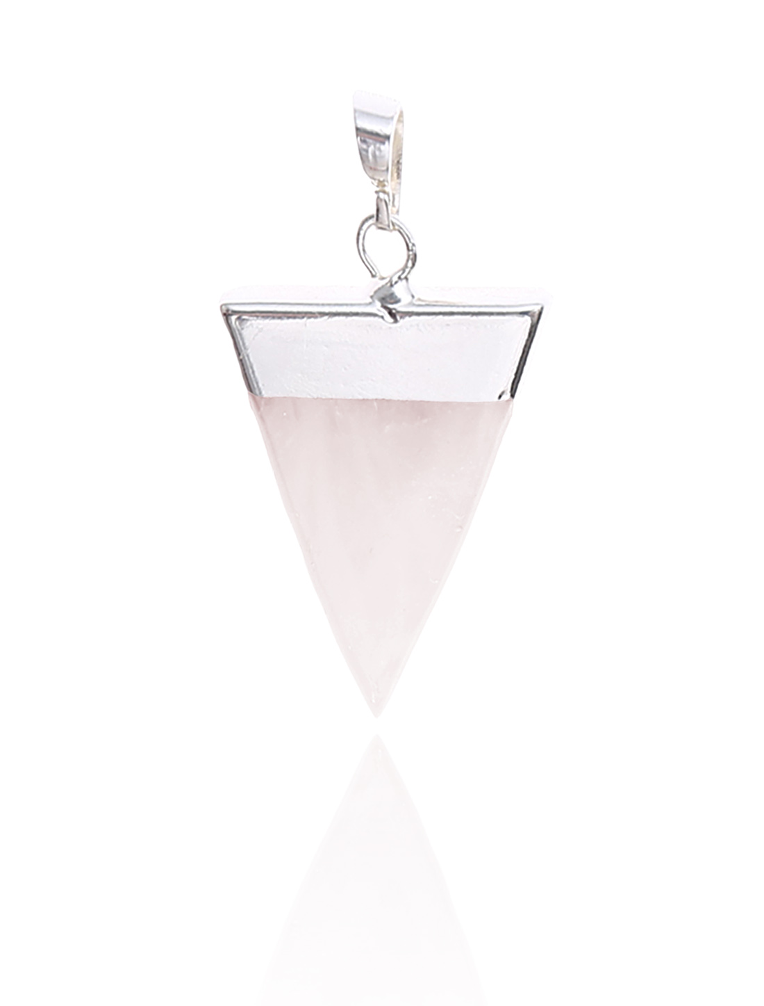 Rose Quartz Pyramid Healing Point Reiki Chakra Gemstone Silver Plated Pendant For Necklace